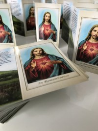 sacred heart memorial cards by Invite Delight at the cross memorials