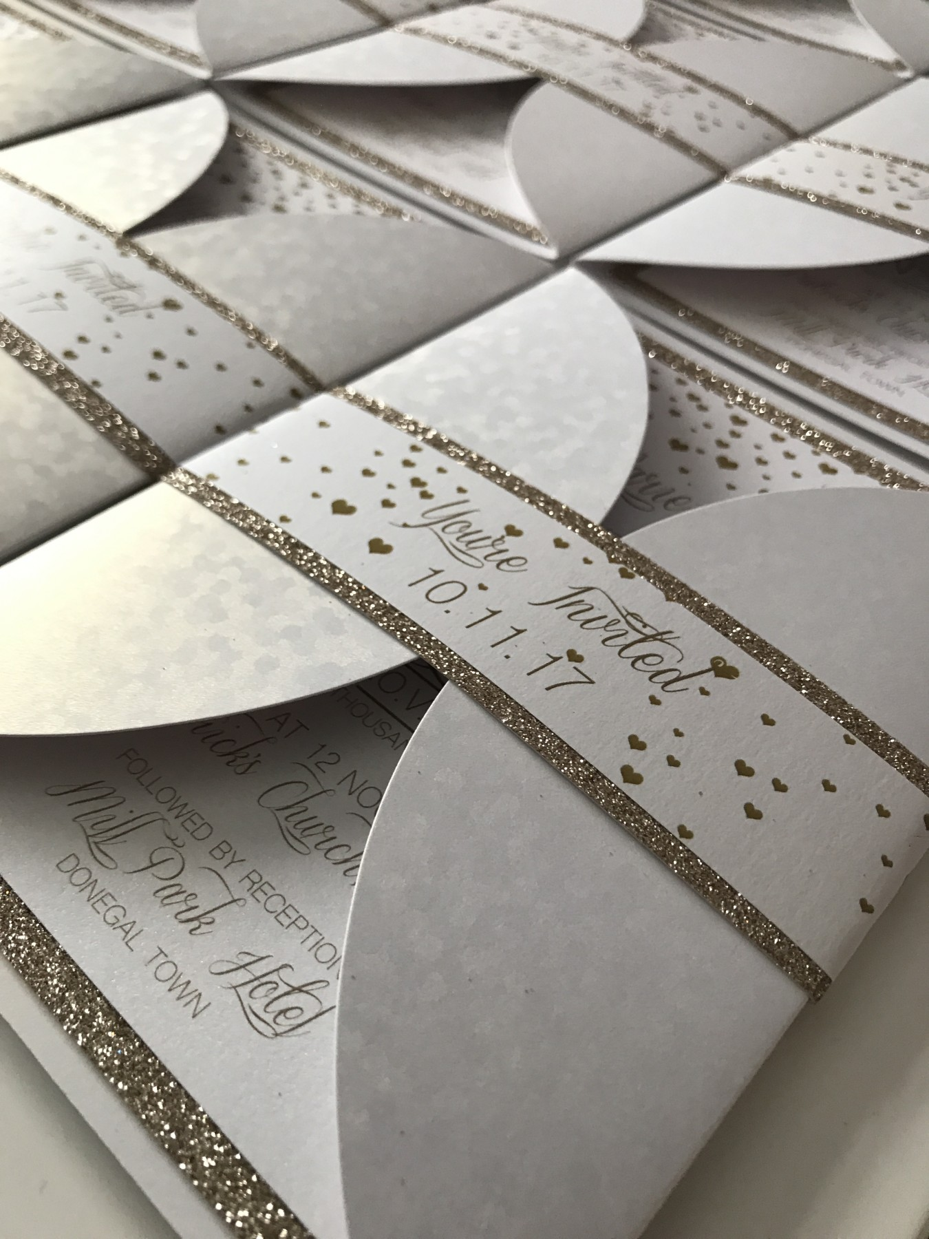 bespoke beautiful wedding invite recycle rusty rustick invite pocket wedding invitation with hot foil designs at Invite Delight with gold glitter card