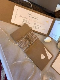 recycle rusty rustick invite pocket wedding invitation with hot foil designs at Invite Delight with lace