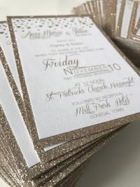 glitter card gold glitter invite wedding invitation recycle rusty rustick invite pocket wedding invitation with hot foil designs at Invite Delight