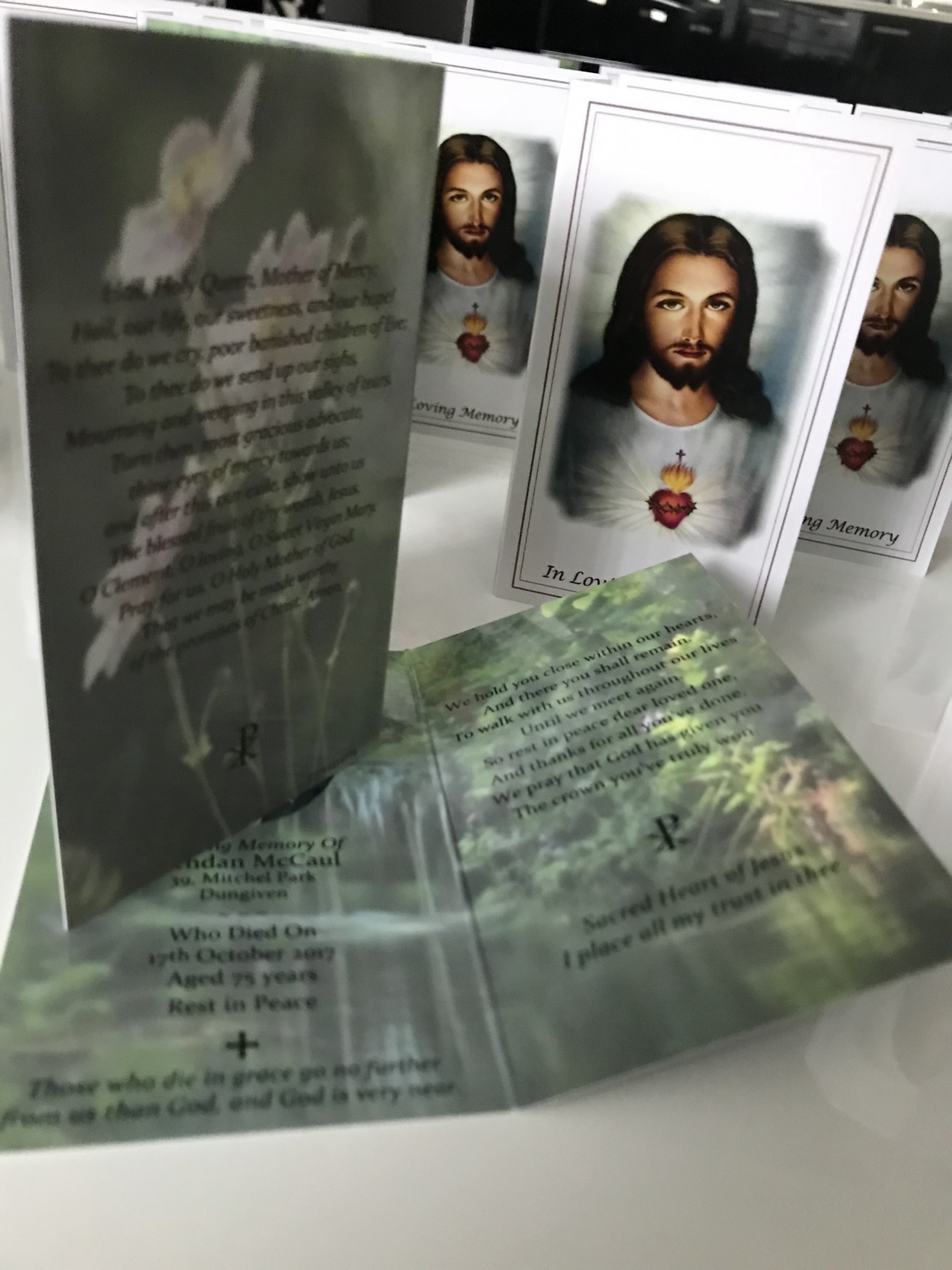 Personalised memorial cards by Invite Delight at the cross memorials