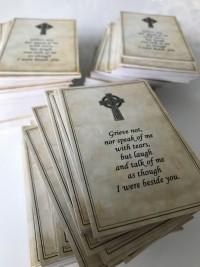 Celtic memorial cards bespoke by Invite Delight at the cross memorials