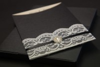 wedding invite in a box with lace designs at Invite Delight