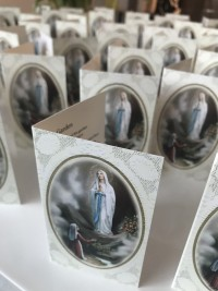 Our lady bespoke memorial cards Invite Delight
